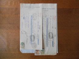 LE HAVRE Cie CAFEIERE HAVRAISE FACTURE ET  TRAITES DU 25 AVRIL 1928 TIMBRES FISCAUX - France