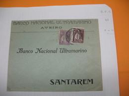 Portugal  Lettre  Perforé Perfin  Perfurado    :  BNV 45 De Aveiro   Banco Nacional Ultremarino - 1910-... Republic