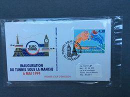 """FRANCE - 4 Enveloppes 1er-jour (6.5.1994) """"Tunnel-sous-la-manche""""  Neuves Sous Blister - Vendu 9,15€ à La Poste - France"""