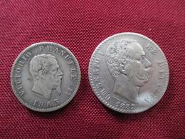 ITALIE 2 Lires 1887 Et 1 Lire 1863 Argent - Autres