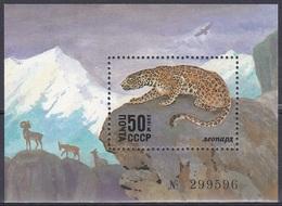 Sowjetunion Soviet Union UdSSR USSR 1985 Tiere Fauna Animals Raubkatzen Katzen Cats Schneeleopard Ounce, Bl. 185 ** - 1923-1991 URSS