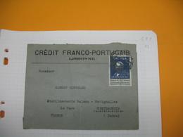 Portugal Lettre    Perforé Perfin  Perfurado :  CFP 61  De Lisbonne Pour La France  Crédit Franco-Portuguais - 1910-... Republic