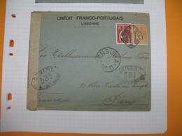 Portugal Lettre Perforé Perfin  Perfurado Avec Censure N°11 Ouvert  :  CFP 61 Lisbonne- France Crédit Franco-Portuguais - 1910-... Republic