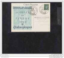 Carte Federale Journée Du Timbre 1942 Perpignan - Marcofilia (sobres)