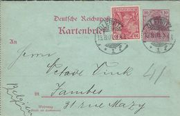 Germany - Letter / Card.  Kartenbrief.   Used Gleiwitz 1901.  H-1307 - Germany