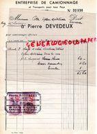 69- TARARE - FACTURE PIERRE DEVEDEUX- ENTREPRISE CAMIONNAGE-TRANSPORTS TOUS PAYS- 1943 - Transport
