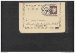 Carte Lettre Journée Du Timbre 1944 Montpellier - Marcophilie (Lettres)