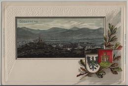 Godesberg - Generalansicht - Passepartout Präge Relief Karte - Bonn