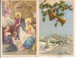 L40C006 - Joyeux Noël - Lot De Deux Cartes Italiennes - Nativité Et Paysage De Neige - Autres