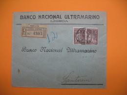 Portugal Lettre  Recommandé Perforé Perfin  Perfurado :  BNU  45 - De Lisboa Central - Banco Nacional Ultramarino - 1910-... Republic
