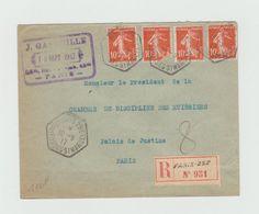 Recommandé 1917 - PARIS 29C - Cachet Hexagonal Paris - Rue Des FOSSES ST MARCEL Sur Semeuses 10c - Marcophilie (Lettres)