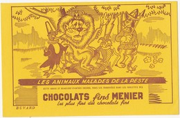 Buvard CHOCOLATS MENIER : Les Animaux Malades De La Peste - Cocoa & Chocolat