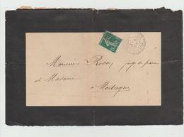 Devant D'enveloppe 1909 -  Cachet Perlé - VILLIERS Sur MORTAGNE (Orne) Sur Semeuse 5c Vert - Postmark Collection (Covers)