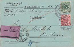 DR NN-Karte Mif Minr.45, 46 Dresden 5.4.00 Gel. Nach Reutlingen - Briefe U. Dokumente
