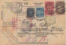 DR Paketkarte Mif Minr.209,220,222,239,9x 252 Niedersedlitz 28.3.23 Gel. In Schweiz - Deutschland