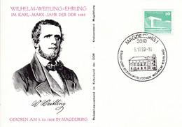 DDR Magdeburg Wilhelm-Weitling-Ehrung Im Karl Marx Jahr Der DDR.Mi:1843 - [6] Democratic Republic