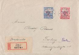 Böhmen Und Mähren R-Brief Drucksache Mif Minr.83, 84 Prag 21.8.42 Seltene Portostufe - Böhmen Und Mähren