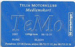 Sweden - Telia - TeMo Medlemskort II (With Embossed Name!) 60U, 11.1995, 7.000ex, Mint (check Photos!) - Sweden