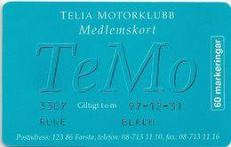 Sweden - Telia - TeMo Medlemskort III (With Embossed Name!) 60U, 11.1996, 6.500ex, Mint (check Photos!) - Sweden