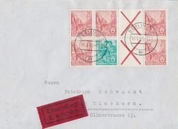 DDR Brief Eilbote Mif Minr. WZ 8, WZ 10 Berlin 16.3.60 Gel. Nach Elmshorn - DDR
