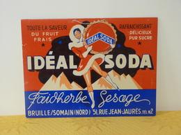 """Publicité  Cartonnée """"IDEAL SODA"""". - Paperboard Signs"""
