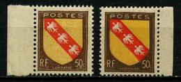 FRANCE - VARIETE - YT 757 ** - BLASON LORRAINE - JAUNE FONCE ET JAUNE CLAIR - 2 TIMBRES NEUFS ** - Varieties: 1945-49 Mint/hinged