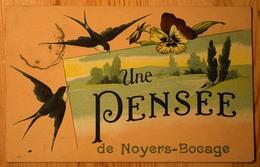 14 : Une Pensée De Noyers-Bocage - Carte Fantaisie Avec Hirondelle - (n°10318) - Other Municipalities