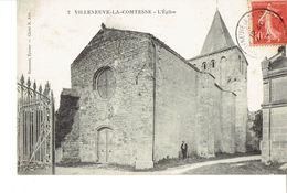 Cpa Villeneuve La Comtesse L église Année 1907 - Autres Communes