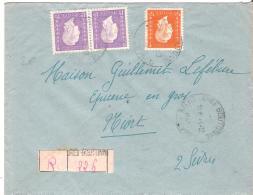 Env  REC Cad CHEF BOUTONNE   Cad 12/1945  Tarif 7f Pour NIORT - Postmark Collection (Covers)