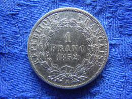 FRANCE 1 FRANC 1852 A, KM772 Cleaned - France