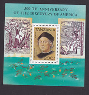 Tanzania, Scott #993, Mint Never Hinged, Discovery Of America, Issued 1992 - Tanzanie (1964-...)