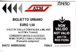 Italy , Milano   , Metro  Ticket  , Biglietto Urbano , Used - Subway