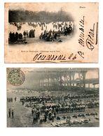 """75 - PARIS . """" LE BOIS DE BOULOGNE. PATINAGE """" & """" JOURNÉE DU 1 MAI 1906. LE CAMP DES MACHINES """" . 2 CPA - Réf. N°8079 - - Arrondissement: 13"""