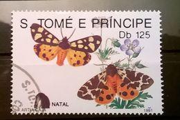 FRANCOBOLLI STAMPS SAO TOME E PRINCIPE 1991 SERIE FARFALLE NATALE - Sao Tomé E Principe