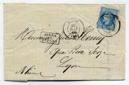 T15 DIJON + Cachet BUREAU DE PASSE 1307 Sur Napoléon Lauré / Dept 20 Cote D'Or / 1868 - 1849-1876: Classic Period