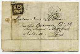T18  PARIS BELLEVILE Sur Timbre Taxe 15centimes / Dept 60 Seine / Janvier 1870 - Marcophilie (Lettres)