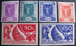 Lot FD/1248 - 1936 - EXPO PARIS 1937 - N°322 à 327 NEUFS** - Cote : 125,00 € - Nuovi