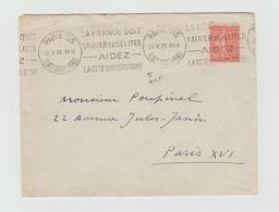 """LSC 1927 - Cachet Paris Rue Des St Peres  Et Flamme """" La France Doit Sauver Ses élites Aidez La Cité Universitaire"""" - Marcophilie (Lettres)"""
