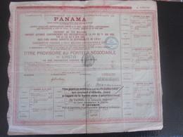 PANAMA 1888 Action & Titre Navigation COMPAGNIE UNIVERSELLE DU CANAL INTEROCÉANIQUE DE PANAMA+FISCAL CACHET CONTRÔLE - Navegación