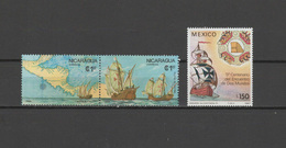 Nicaragua / Mexico 1986/1987 Christopher Columbus, 500th Anniversary Of Discovery Of America, Ships 3 Stamps MNH - Cristoforo Colombo