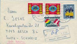 1967 , BOLIVIA - SOBRE CERTIFICADO , LA PAZ ( MIRAFLORES ) - AESCH , LIONS, FOLCLORE , BANDERAS - Bolivia