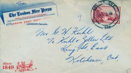 """1959 , CANADÁ , """" THE LONDON FREE PRESS """" , SOBRE COMERCIAL CIRCULADO , MAT. LONDON ONT. - Cartas"""