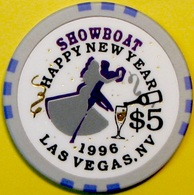 $5 Casino Chip. Showboat, Las Vegas, NV. New Year 1996. L93. - Casino