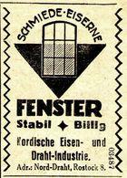 Original-Werbung/ Anzeige 1924 - SCHMIEDE-EISERNE FENSTER / NORDISCHE EISEN- UND DRAHTINDUSTRIE ROSTOCK - Ca. 30 X 45 Mm - Werbung