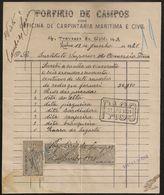 Fatura - Invoice Portugal - Lisboa 1921 - Porfirio De Campos Carpintaria Maritima - Vinheta Imposto Selo - Advertising - Portugal