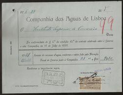 Fatura - Invoice Portugal - Lisboa 1921 - Companhia Das Aguas De Lisboa - Vinheta Imposto Selo - Advertising - Portugal