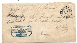NDP075 / NORDDEUTSCHER POSTBEZIRK -  Brief, Krieg 1870-71, Portofreie Kriegsgefangenenpost Aus Magdeburg Nach Frankreich - North German Conf.