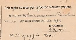 7628.   Patronato Senese Per Le Sordo Parlanti Povere Siena Fattura Contessa Piccolomini 1939 - Italia