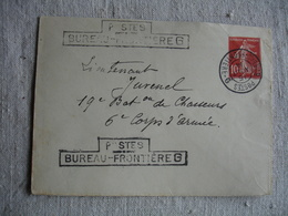 Postes Bureau Frontiere  G Cachet Et Marque Lineaire Guerre 14.18 Sur Lettre - Postmark Collection (Covers)