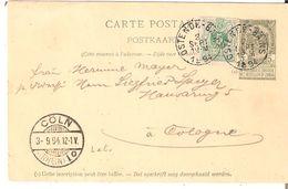 EP. C.P. 23 + TP. 45 Càd OSTENDE-BAINS Du 3/9/1894 V/Cologne - Ganzsachen